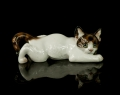 """Crouching cat"" , Theodor Kärner , Rosenthal , circa 1969 , antiques Warsaw, old porcelain, porcelain figurines"