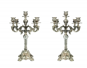 Pair of Candelabras, Portugal, 1930s