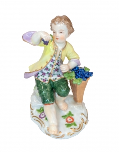 """Boy with basket of berries"", Meissen, 20th century"