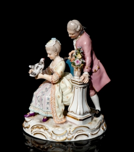 A couple with the dove, Michel-Victor Acier, Meissen, 19th century