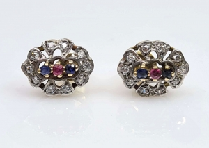 Sapphires and ruby earrings