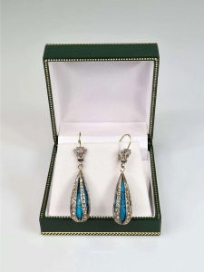 Turquoises and diamonds earrings