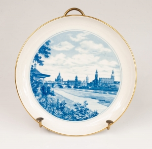 Plate with miniature, Meissen, 20th century