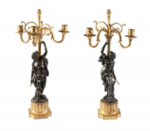 Pair of candelabras, Claude Michel Clodion, France, late 19th century