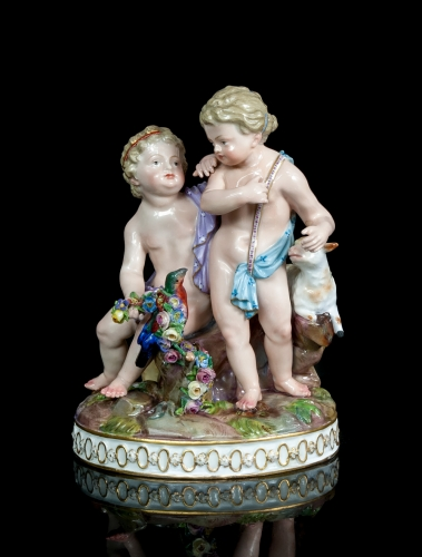 """Kids with the sheep and bird"", Meissen, 1850"